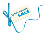 """CYBER MONDAY SALE"" vector sales tag with blue ribbon"