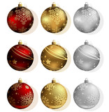 Christmas Bauble Collection - Red, Gold and Silver Color, Vector Illustration