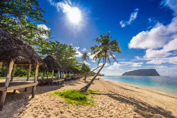 Tropical beach with a coconut palm trees and a beach fales, Samo