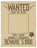 Wanted. Retro poster in style of times the Wild West. Vintage vector illustration