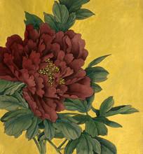 pivoine fleur sur un fond d'or