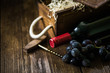 Red wine bottle and wooden crate