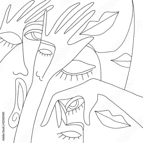 Fotobehang Klassieke abstractie background with faces and hands