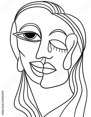 Tuinposter Klassieke abstractie abstract faces