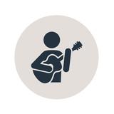 Icono plano guitarrista en circulo gris