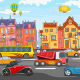 Cartoon background of city traffic.