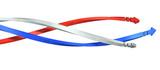 螺旋上に捻じれる3本の矢印を描いた3Dレンダリング