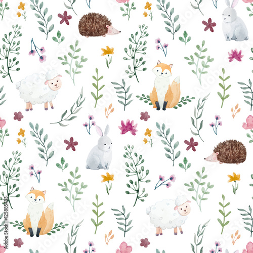 Cotton fabric Watercolor pattern for children