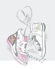 Pair of sneakers with laces in the form of heart. Hand drawn vector illustration.