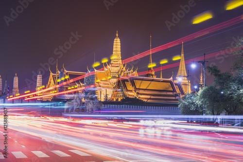 Poster abstract night light in bangkok grand palace