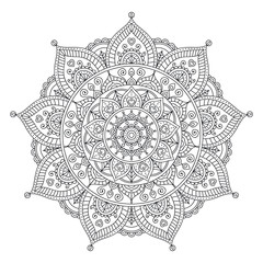 Vector hand drawn doodle mandala with hearts. Ethnic mandala with colorful ornament. Isolated. Tribal floral ornament. Coloring anti stress page for coloring book. Outline.