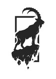 Silhouette of a mountain goat. - 125905660
