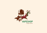 logo for vape shop Man in the hood with the electronic cigarette.