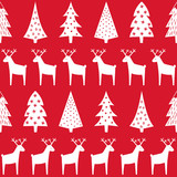 Christmas pattern - Xmas trees, reindeer and snowflakes. Happy New Year seamless background. Simple vector winter holidays design for textile, wallpaper, wrapping paper, fabric, decor.