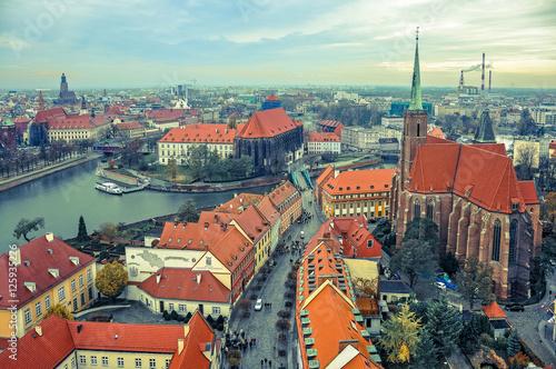 Zdjęcia na płótnie, fototapety na wymiar, obrazy na ścianę : Miasto Wrocław - panorama