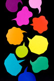 The Handmade Colorful Origami Balloons on the Black Background