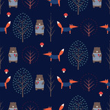 Fox, bear, trees and mushroom seamless pattern on dark blue background. Cute scandinavian style nature illustration. Autumn forest with animals design for textile, wallpaper, fabric.