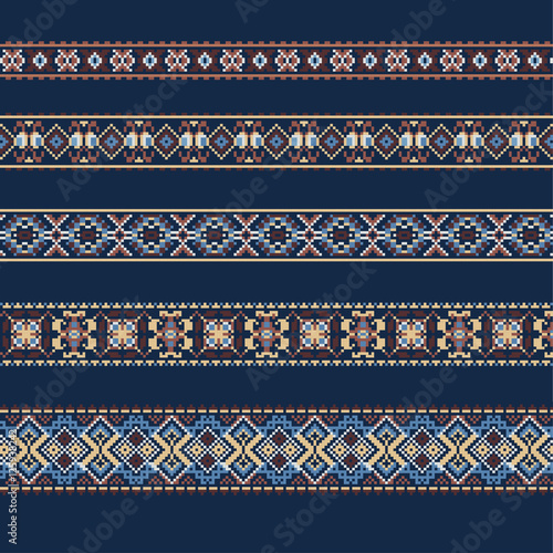 Ethnic ornamental background in blue and brown colors