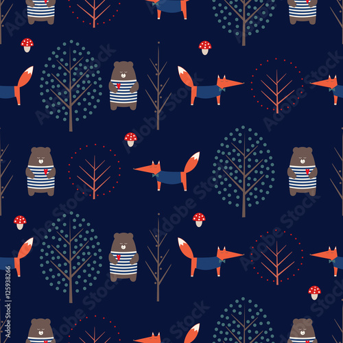 Fox, bear, trees and mushroom seamless pattern on dark blue background. Cute scandinavian style nature illustration. Autumn forest with animals design for textile, wallpaper, fabric. - 125938266