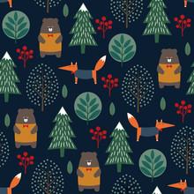 Fox, niedźwiedź, drzew i jagody szwu na ciemnym niebieskim tle. Boże Narodzenie w stylu skandynawskim charakter ilustracji. Zimowy las z projektowaniem zwierzęta i Xmas dla przemysłu włókienniczego, tapety, tkaniny.