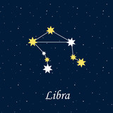 constellation Libra zodiac horoscope astrology stars night illus