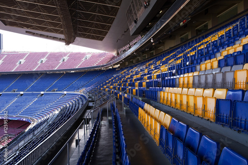 Empty Seating at the Nou Camp Stadium, Barcelona Poster