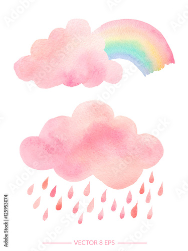 Watercolor clouds with rain and rainbow - 125953074