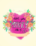 Will you marry me heart on flower watercolor frame
