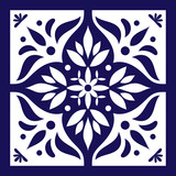 Blue white tile vector. Delft dutch or portugal tiles pattern with indigo and white ornaments. - 125963620
