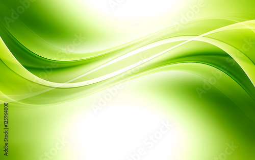 Abstract background powerful effect lighting. Green blurred color waves design. Glowing template for your creative graphics.