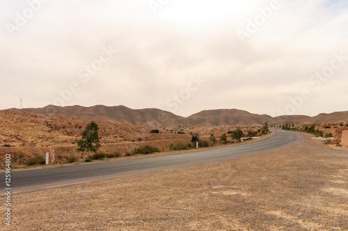Staande foto Afrika Road at Sahara desert in the afternoon.