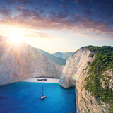 The amazing Navagio beach in Zante, Greece, with the famous wrecked ship - 125968821