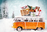 Christmas bus with gifts, for a greeting card maybe.