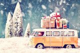Fototapety Christmas Card with vintage car and a lot of xmas gifts in wintery landscape