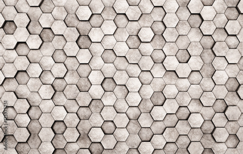 Fototapeta Wall of concrete hexagons as wallpaper or background