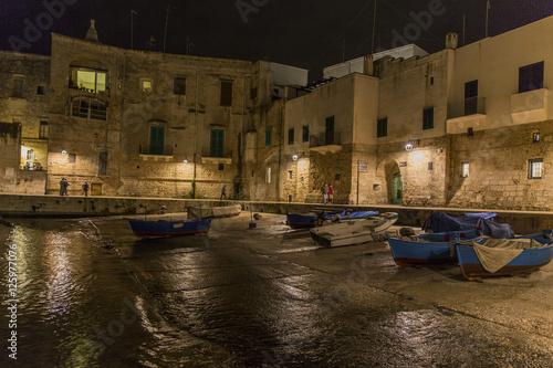 Poster Hafen in der Nacht, Monopoli, Apulien, Italien