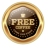 Free Coffe brown badge