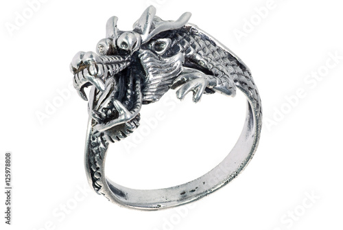 Poster Silver ring with dragon, isolated on a white.