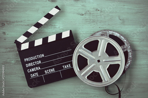 Clapperboards and two reels of film