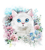 Fototapety Cute cat. Watercolor Cat illustration. T-shirt print. Greeting card. Poster Kitten. Flower and splash paint. Isolated cat
