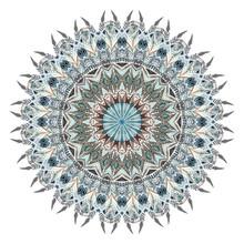 Aquarelle mandala abstrait avec des plumes stylisées
