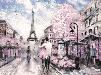 Oil Painting, Street View of Paris. .european city landscape © lisima