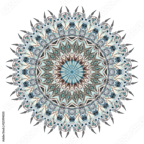 Watercolor abstract mandala with stylized feathers - 125994030