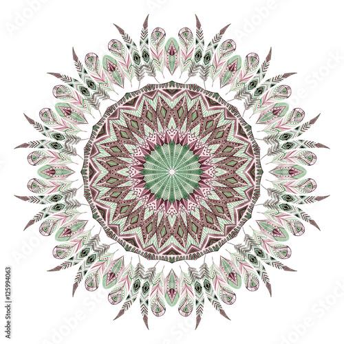Watercolor ethnic feathers abstract mandala. - 125994063
