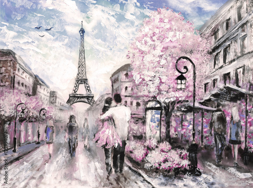 Naklejka Oil Painting, Street View of Paris. .european city landscape