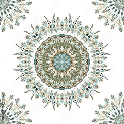 Watercolor ethnic feathers abstract mandala. - 125994086
