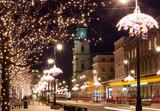 Fototapety night city lights in old town Warsaw, Poland. Christmas