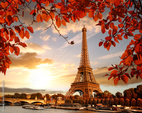Fotografiet Eiffel Tower with autumn leaves in Paris, France