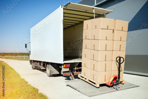 Fototapeta Truck carrying cargo for export