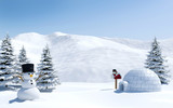 Arctic landscape, snow field with igloo and snowman in Christmas holiday, North pole - 126004490